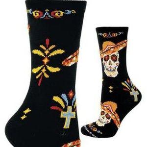 Day of the Dead Sugar Skull Sombrero Crew Socks OS